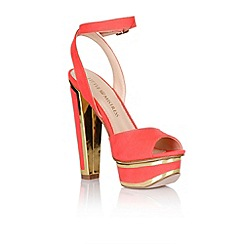 Little Mistress - Coral and gold trim heel shoes