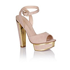Little Mistress - Nude and gold trim heel shoes