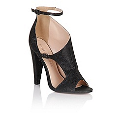 Little Mistress - Black glitter cut out shoes