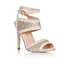 Little Mistress - Nude glitter insert peep toe heels