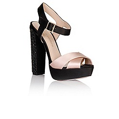 Little Mistress - Black and nude diamante heel shoes
