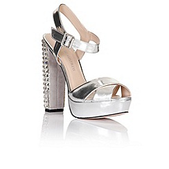 Little Mistress - Silver diamante heel shoes