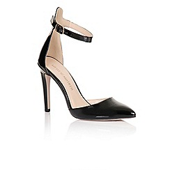 Little Mistress - Black pointed ankle strap court shoes