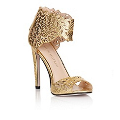 Little Mistress - Gold cut out ankle cuff heels