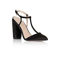 Little Mistress - Black t-bar embellished heels