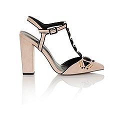 Little Mistress - Nude microfiber t-bar/ emb chunky heel