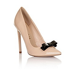 Paper Dolls - Nude patent tape bow court heel