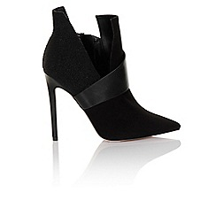 Little Mistress - Black caviar asymmetric point toe boot