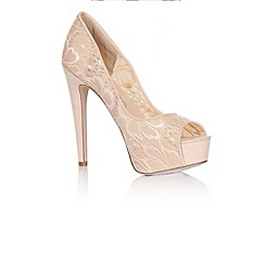 Little Mistress - Nude floral lace peep toe heels