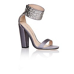 Little Mistress - Silver glitter cuff two strap heels