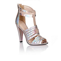 Little Mistress - Holographic silver multi cut out heels