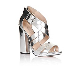 Little Mistress - Silver cross over multi strap heels