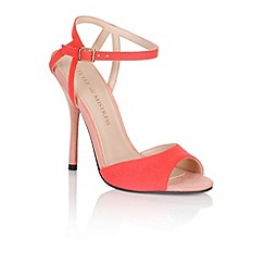 Little Mistress - Coral silver metallic strap peep toe heels
