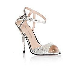 Little Mistress - Silver metallic strap peep toe heels