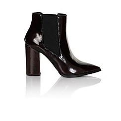 Paper Dolls - Dark burgundy patent chelsea heel boot