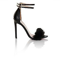 Little Mistress - Black fur / double ankle strap heel