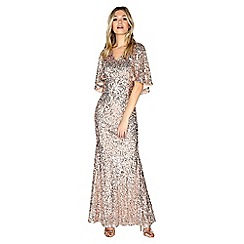 Little Mistress - Gold cape maxi dress