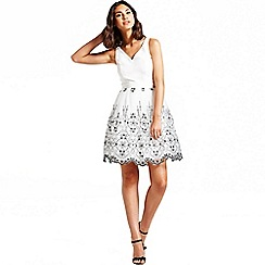 Laced In Love - White and black floral applique v neck dress