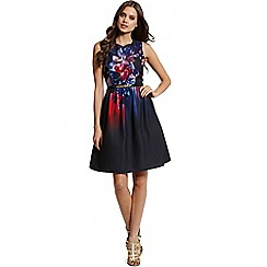 Little Mistress - Floral placement print fit and flare dress