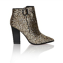 Girls On Film - Gold glitter ankle boot