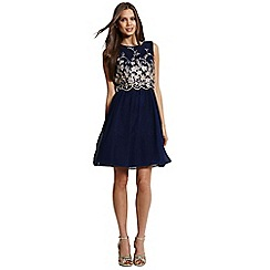 Little Mistress - Navy and gold embroidered 2 in 1 dress