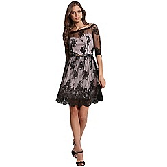 Little Mistress - Black border lace bardot dress