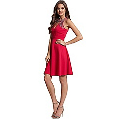 Little Mistress - Berry embellished cut out dress