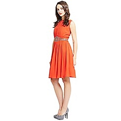 Little Mistress - Orange embellished sleeveless chiffon dress
