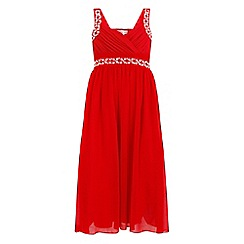 Little Misdress - Red chiffon maxi dress