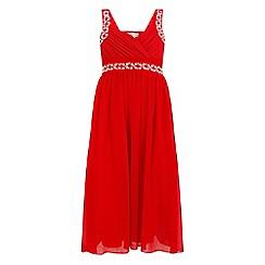 Little Misdress - Red chiffon maxi dress