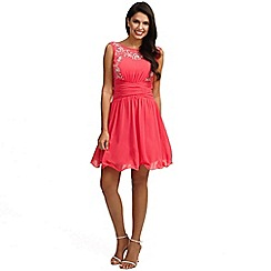 Little Mistress - Cherry pink mesh embellished fit and flare dress