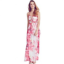 Little Mistress - Pink floral embellished strap maxi dress