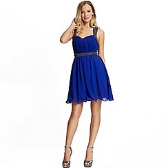 Laced In Love - Laced in love blue embellished skater dress