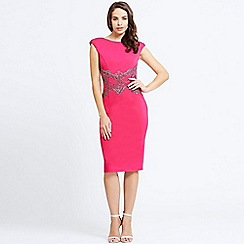 Little Mistress - Cherry pink embellished waist v back bodycon dress