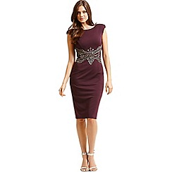 Little Mistress - Purple embellished waist v back bodycon dress