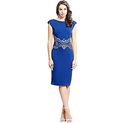 Little Mistress - Blue embellished waist v back bodycon dress