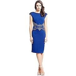 Little Mistress - Blue embellished waist v back bodycon dress