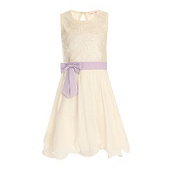 Little Misdress - Cream and lilac pu sequin bow front dress