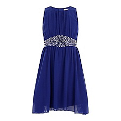 Little Misdress - Cobalt embellished waist chiffon dress