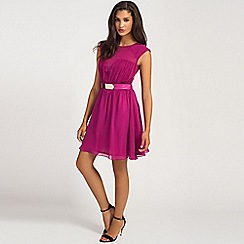 Little Mistress - Raspberry pleated bustier mesh detail belted prom dress