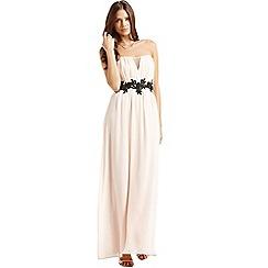 Little Mistress - Cream and black floral waist maxi dress