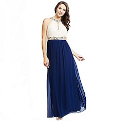 Little Mistress - Cream and navy embellished chiffon maxi dress