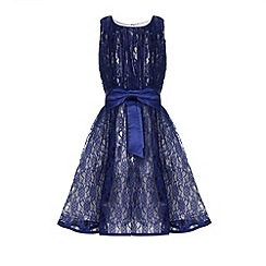 Little Misdress - Navy Lace Large Bow Detail Party Dress