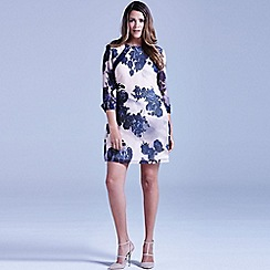 Little Mistress - Curvy nude and navy sheer floral tunic dress