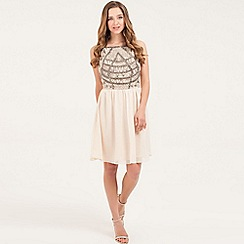 Little Mistress - Cream heavily embellished bodice skater dress