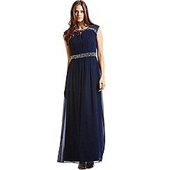 Little Mistress - Navy embellished open back maxi dress