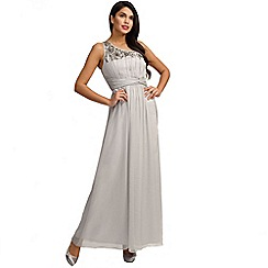 Little Mistress - Grey embellished one shoulder maxi dress