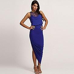 Little Mistress - Blue embellished lace asymmetric maxi dress