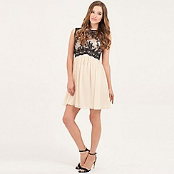 Little Mistress - Cream and black contrast lace prom dress