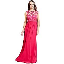 Little Mistress - Pink lace top chiffon maxi dress